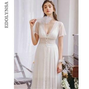 Image 1 - 2020 Hot Couple Bathrobe Female Home Robe Gown Set Bride Pajamas Transparent Kimono Sexy Cotton Nightie Lace Peignoir Sets T480