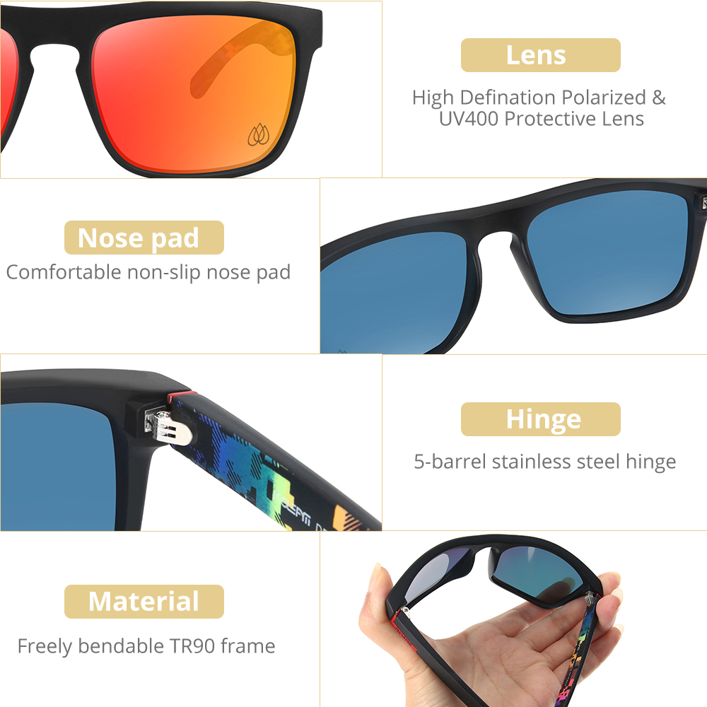 KDEAM LUXURY Mirrored Polarized Sunglasses Men Square TR90 Frame 100% UV Protection Women Sun Glasses With Case KD1006-C13