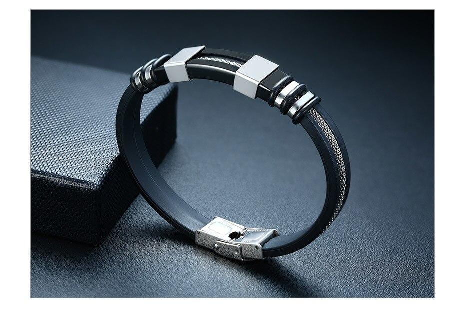 H87bb0da776bb4b33885d3698207ff7dey - Stainless Steel Bracelet Men Wrist Band Black Grooved Rudder Silicone Mesh Link Insert Punk Wristband Stylish Casual Bangle