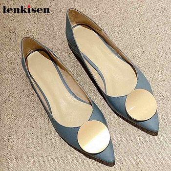 Lenkisen fashion metal decorations pointed toe genuine leather shoes cozy low heels beauty lady fashion daily wear new pumps L16