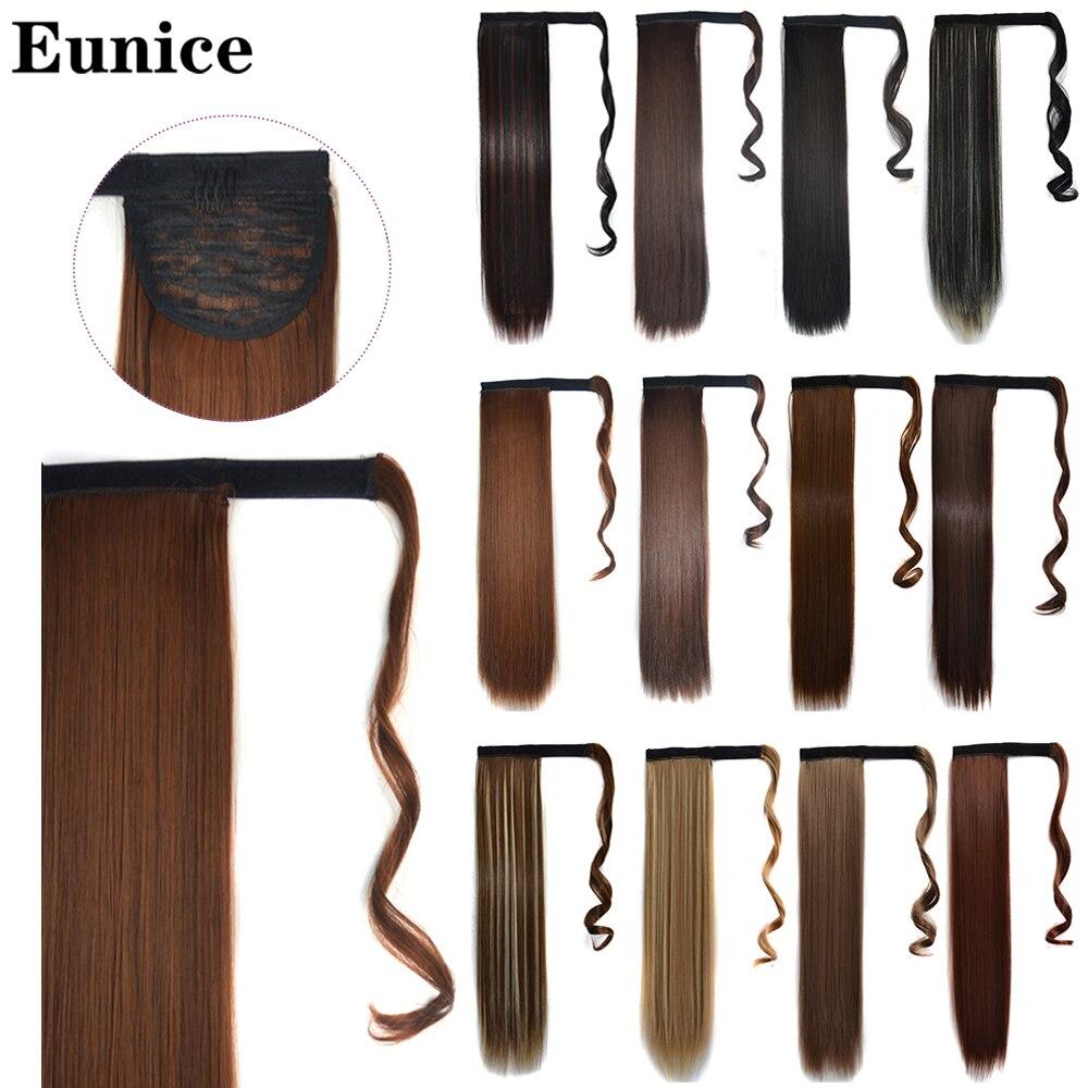 Длинные прямые волосы Eunice на шнурке, несколько цветов, натуральные синтетические волосы для наращивания|Синтетические хвостики|   | АлиЭкспресс