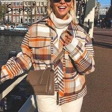 Simplee シングルブレスト女性のチェック柄ジャケットコート長袖カジュアル秋生き抜く女性コートストリートオーバーサイズの女性のコート