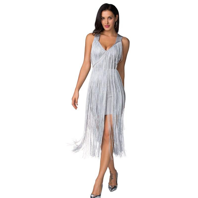 Sexy robes de soirée robe de club de nuit 2019 haute qualité véritable rayonne tissu longs glands robe de pansement célébrité fête robes