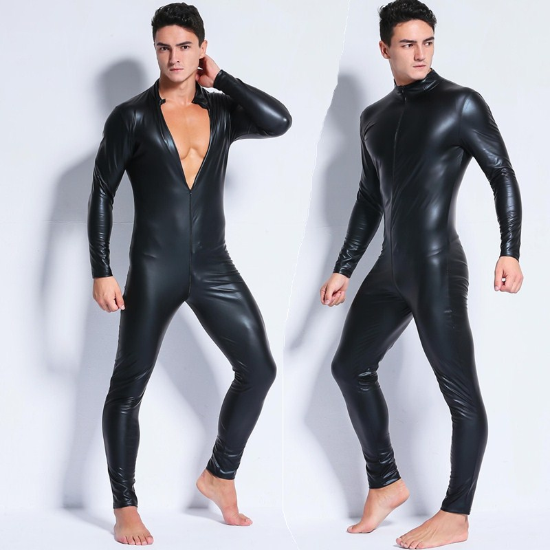 Wetlook masculino de couro falso um pedaço de pele bodysuit 2020 sexy aberto virilha collants catsuit zentai terno masculino fetiche traje clubwear