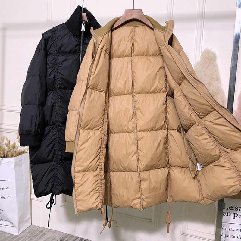 Fitaylor зима 90% ультра легкие белые пуховики женские теплые парки длинные Пуховые Пальто Повседневная зимняя верхняя одежда черный хаки