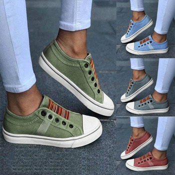 The New 2021 Low-cut Trainers Canvas Flat Shoes Women Casual Vulcanize Shoes New Women Summer Autumn Sneakers Ladies 1