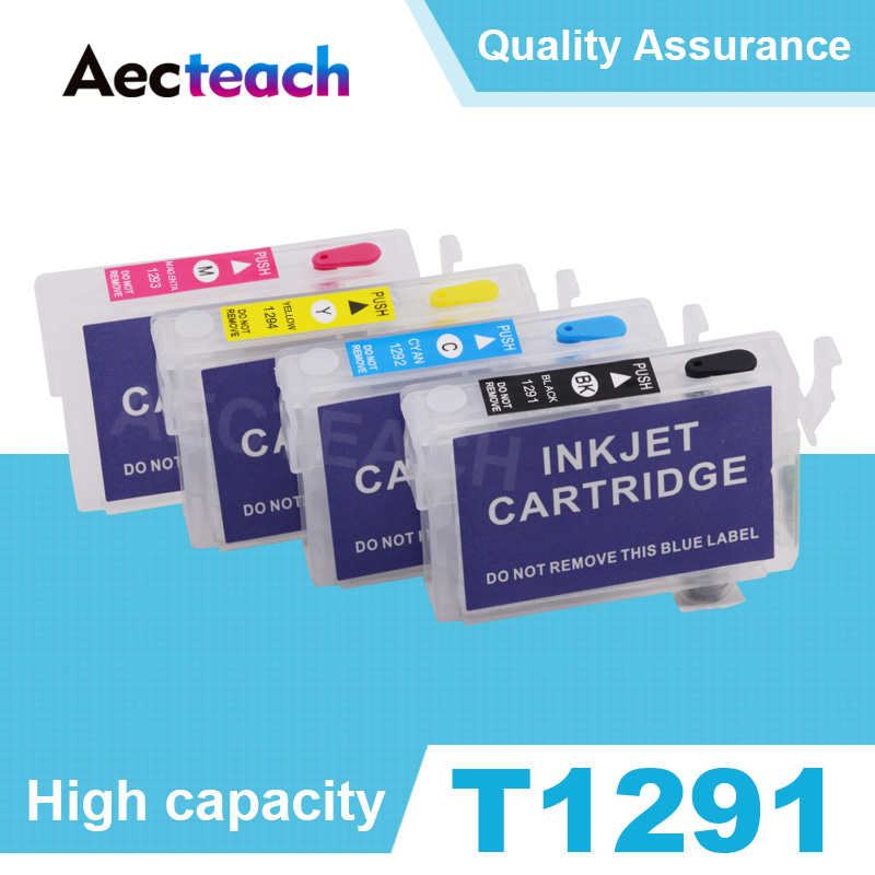 Aecteach T1291 T1292 T1293 T1294 Refillable Ink cartridge for Epson Stylus SX230 SX235W SX420W SX425W SX430W SX435W Printer|Ink Cartridges|Computer & Office - title=