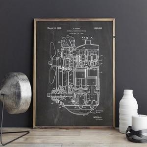 Двигатель внутреннего сгорания патент Печать на холсте поезд художественное оформление стены Художественная роспись постер декор комнаты...