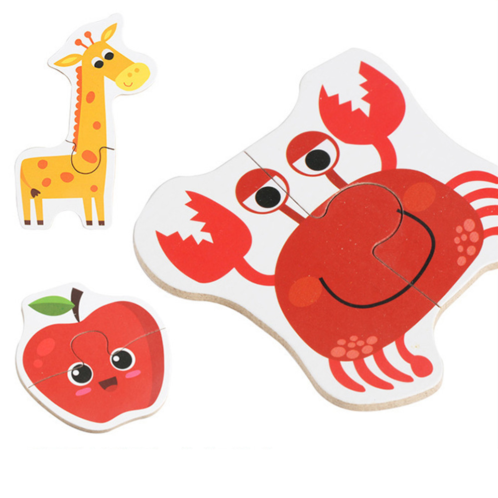 Puzzles matching puzzles toy Children Puzzle Games Early Learning Card for Kids Educational Toys animal vegetable traffic Wood in Puzzles from Toys Hobbies