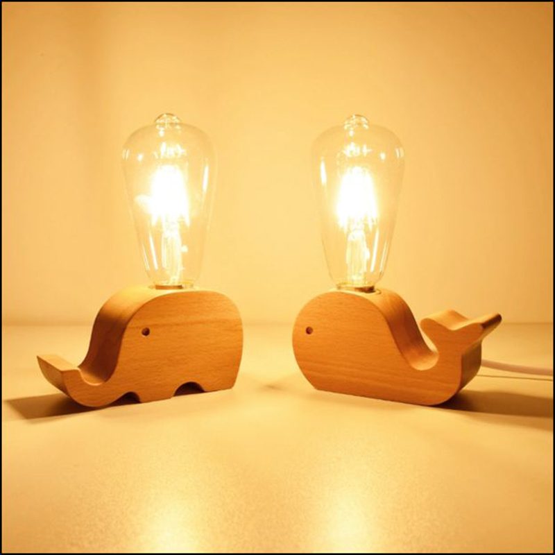 Wooden Eu Plug Small Table Lamps Creative Nordic Modern Romantic Warm Bedroom Bar Lights 220v Elephant Whale Bedside Table Lamp Led Table Lamps Aliexpress