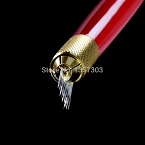 Image 4 - 100個3行ライン16Pin針恒久眉毛メイク針microbladingペンマニュアル刺繍送料無料のための
