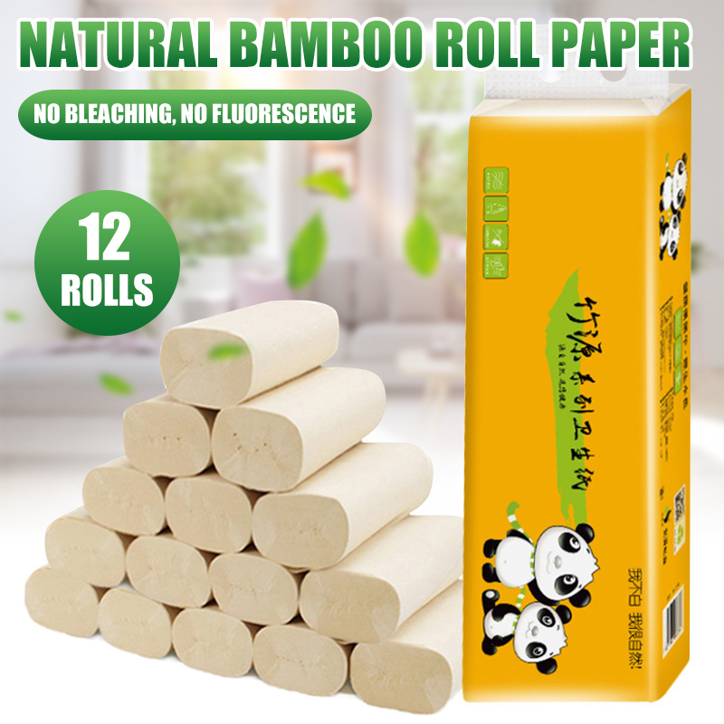Wholesale 12 Rolls Toilet Paper Household 4 Layer Tissue Soft Skin-Friendly Home Bathroom Primary Wood Pulp Paper Tissue M3