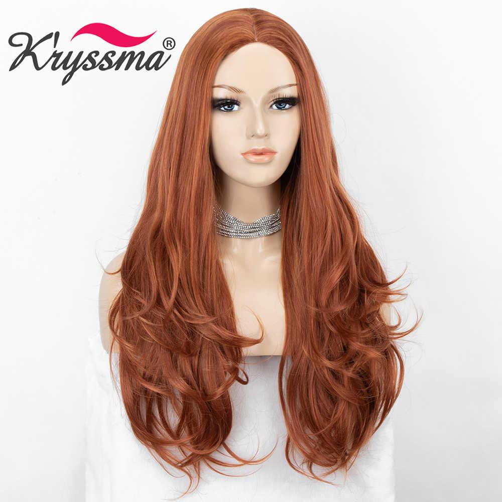 Peluca con malla frontal y pelo largo ondulado de Kryssma rojo cobrizo para mujer