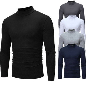 Brand New Gothic Men Turtelneck Sweater Pullover Long Sleeve Stretch Slim Basic Sweater Turtleneck Male Blouse Spring Clothes