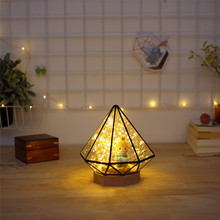 Creative LED Night Light Glass Diamond Shape Fairy Light Copper Wire LED String Light for children Gifts Home Decorations Gifts