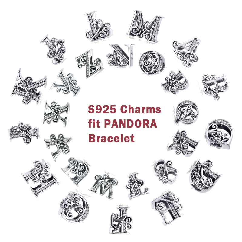 MYBEBOA 925 Sterling Silver Letter Alphabet A to Z Beads Charms Jewelry Accessories Fit Original Pandora Bracelets Bangles