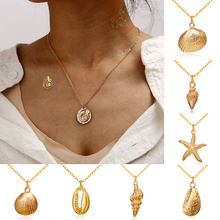 HOCOLE Gold Color Metal Necklace For Women Bohemian Shell Conch Shape Pendant Charm Choker Statement Fashion Jewelry