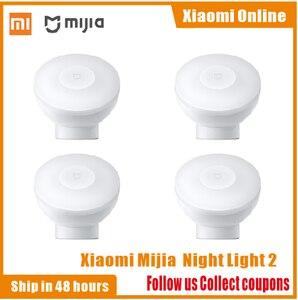 Image 1 - 2020New Xiaomi Mijia MJYD02YL Nachtlampje 2 Generatie Verstelbare Helderheid Infrarood Smart Menselijk Lichaam Sensor Met Magnetische Voet