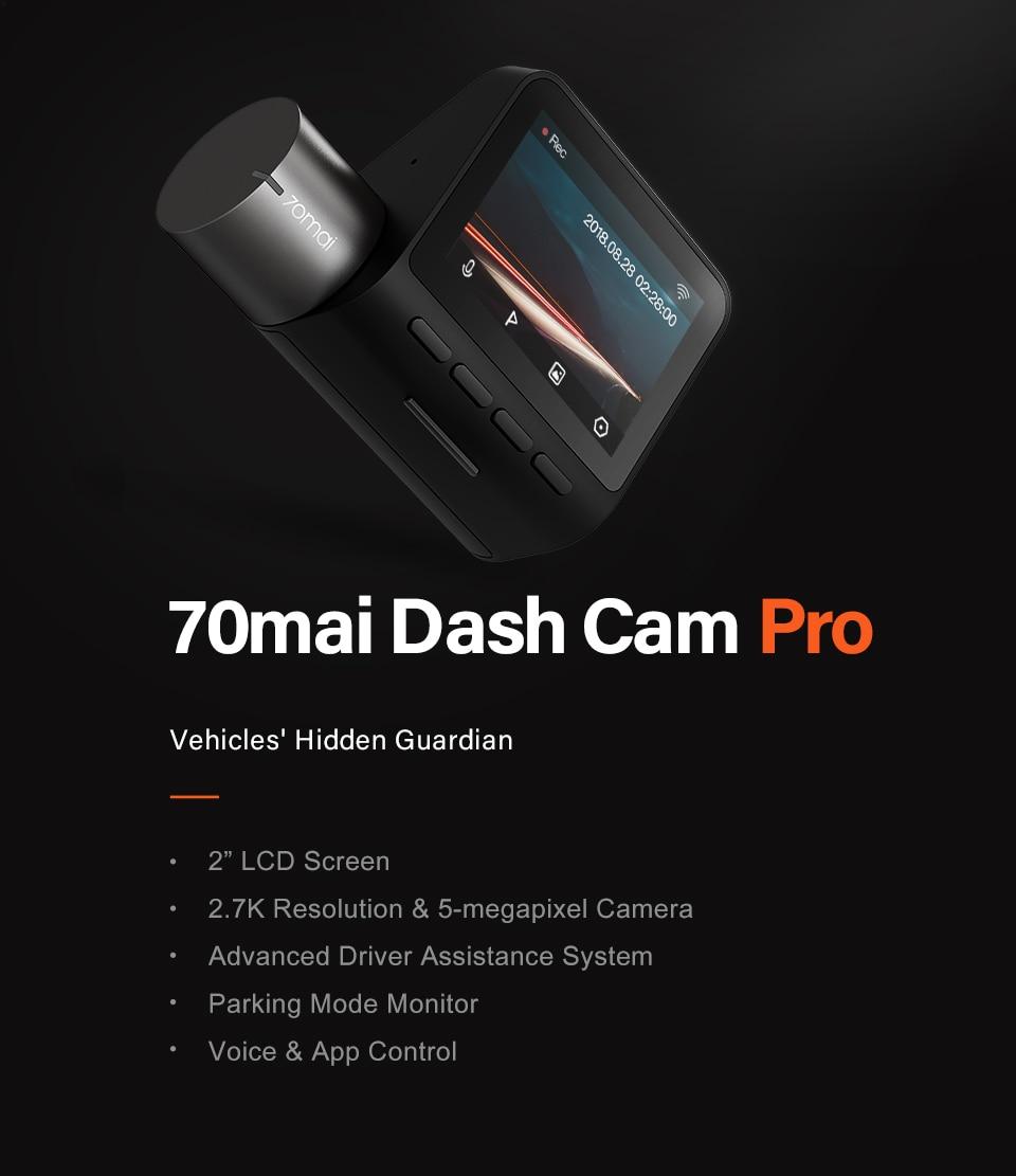 70mai Smart Dash Cam Pro 1944P Voice Control Speed Coordinates GPS ADAS 70mai Pro Car Dash Camera 70mai Plus Car DVR 24H Parking 15