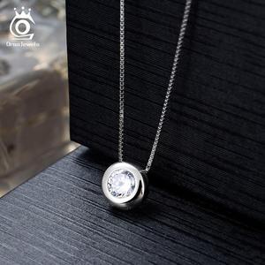 Image 4 - Orsa jóias reais 925 prata mulher redonda pingentes colares de prata esterlina aaa cz clavícula corrente colar jóias femininas sn136