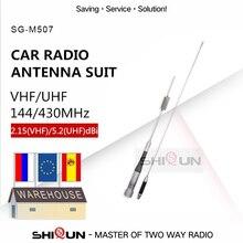 VHF UHF Di Động Trên Xe Hơi Đài Phát Thanh SG M507 Anten + Tặng 5M Cáp + RB 400 Kẹp SG M507 Kép Ăng Ten 144/430MHz cho QYT TH UV980 BJ 218 Z218