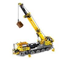 Technic Series Mobile Crane Set Engineering Van Set With Mini Figures Educational Building Blocks Bricks Toys For Kids Boy Gift