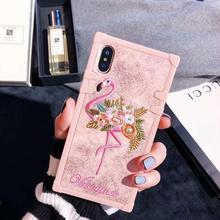 Luxury Embroidery Flamingo Flower Phone Case For iPhone X 6 6S Plus 7 8 Plus Back Case Pink Panther Cover Capa iPhone XR XS Max