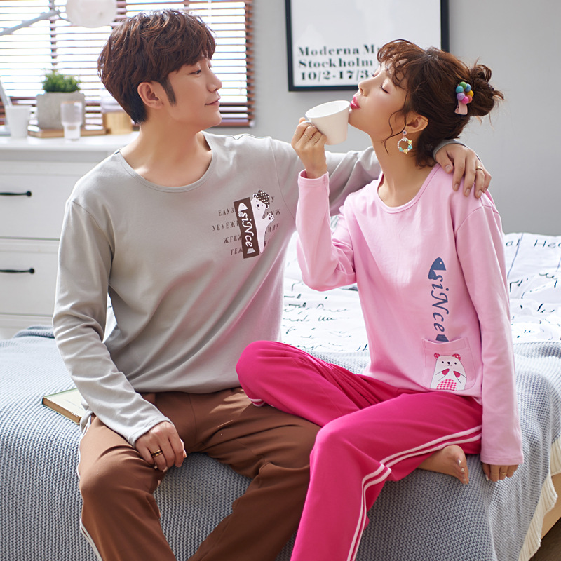 Pajamas Women's Spring And Autumn 6535 Cotton Long Sleeve Trousers Japanese Korean Korean-style Men And Women Couples Thin Home