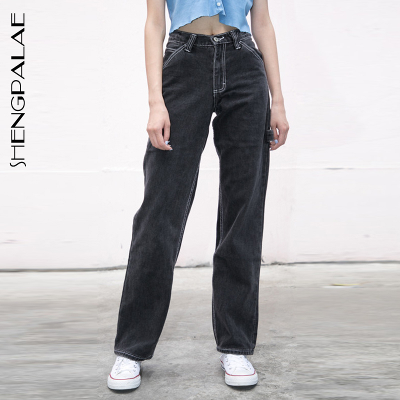 SHENGPALAE 2020 New Summer Casual Jeans Woman Long Trousers Cowboy Female Loose Streetwear High Waist Straight Pants ZA3972