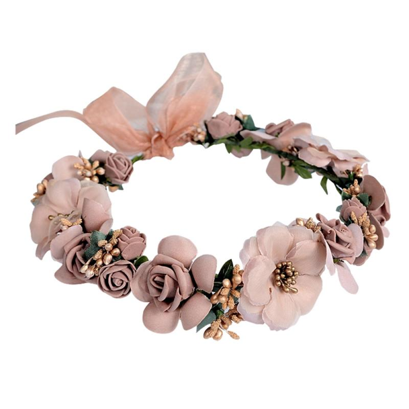 Wedding Garland Flower Crown For Girls Hair Headband Hair Rose Garland Wedding Hair Accessories For Bride Bridesmaids Jewelry