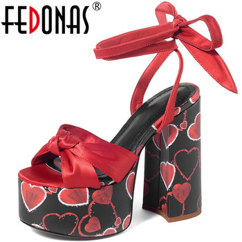 FEDONAS Mixed Colors Sexy Night Club Women Sandals 2020 Summer Wedged Platforms High Heels Pumps Newest Peep Toe Shoes Woman