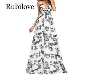 Image 3 - Женское летнее платье макси с V образным вырезом и открытой спиной