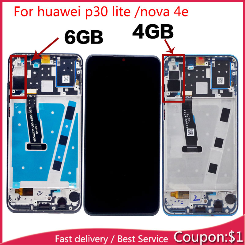 Original For HUAWEI P30 Lite LCD Display Touch Screen Sensor Assembly Replacement Digitizer For HUAWEI NOVA 4E LCD