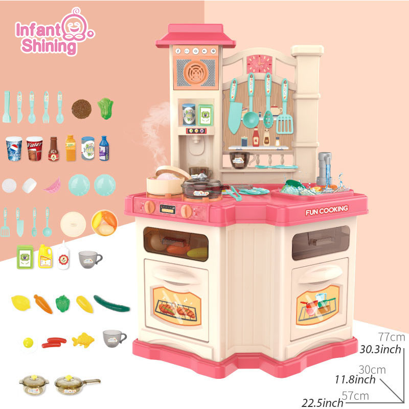 Infant Shining 40PCS Kids Kitchen Toys Set Children Cooking Toy Kitchen Pretend Play Simulation Kitchen Girls Toy Gift