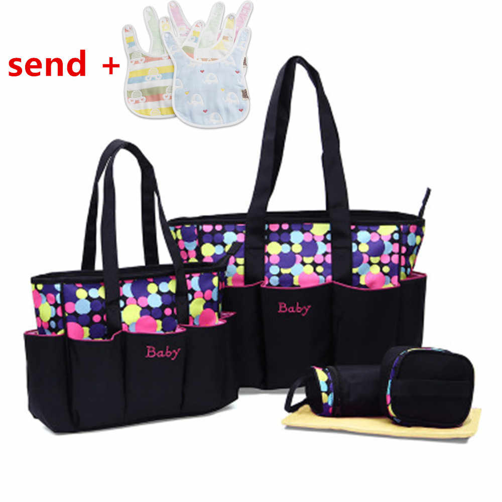 Fashionable mother bag five-piece set wave point multi-function pregnant women carry bag 4 color mother bag large capacity baby