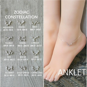 FENGLI Simple Tiny 12 Constellations Anklet for Women Geometric Zircon Zodiac Foot Chain Anklets Statement Jewelry 4