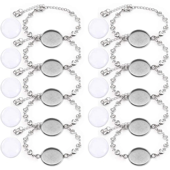 Bracelet Border Setting for Jewelry Making 20mm Silver Jewelry Dial Base Round Gem Tray Blank Bracelet Bracelet Bracelet with 20 фото
