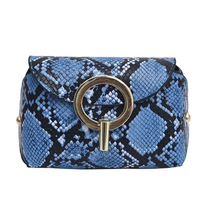 Fashion Snake Pattern Leather Belt Bags Phone Pouch Women Pu Leather Waist Bags Blue