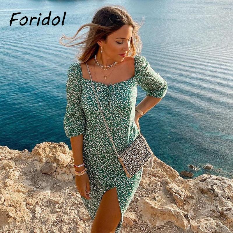 Spring Vintage Long Sleeve Green Floral Dress Women Autumn Winter Slit Long Maxi Dress 2020 Leaf Print Boho Dress Vestidos