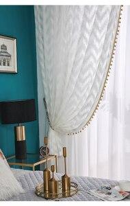 Image 2 - Nowoczesny styl fali tiul na firanki kurtyna czysta biała dekoracja willi transmisja światła zasłony do sypialni salon kuchnia