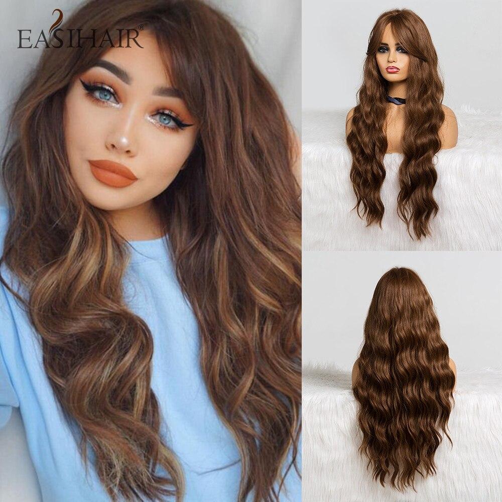 Perruques de Cosplay synthétiques à frange-fairy Hair | Perruques Body wave longues brunes pour femmes, perruques naturelles ondulées résistantes à la chaleur