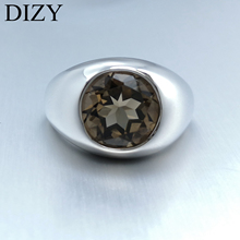 DIZY Round 3.5CT Natural Smoky Quartz Ring 925 Sterling Silver Gemstone Ring for Women Gift Wedding Engagement Jewelry