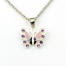 2pcs purple Rhinestone Enamel Butterfly Alloy Charms Pendant Necklaces Jewelry DIY 23.6 inches Chains A-508d
