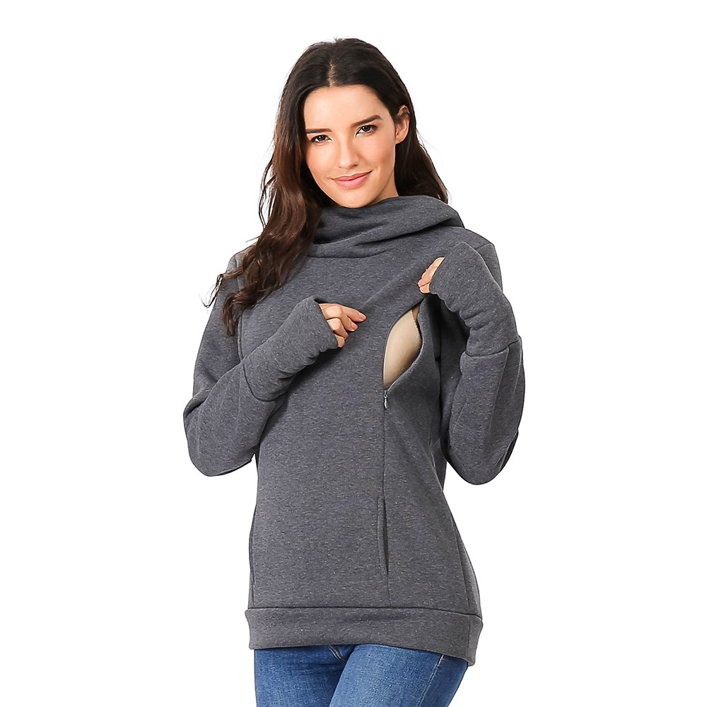 Women's Pregnant Blouse Nursing Maternity Long Sleeves Hooded Breastfeeding Hoodie Sweatshirts Casual Winter Blouse Shirt C850#