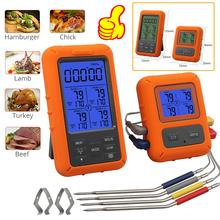 Grill piekarnik kuchnia termometr z zegarem 4 sondy zdalne sterowanie bezprzewodowe cyfrowy termometr do mięsa Grill jedzenie piekarnik palacz tanie tanio CN (pochodzenie) Gospodarstw domowych termometry Z tworzywa sztucznego Piekarnik termometry Battery Meat Thermometer Up to 328 feet(100M)