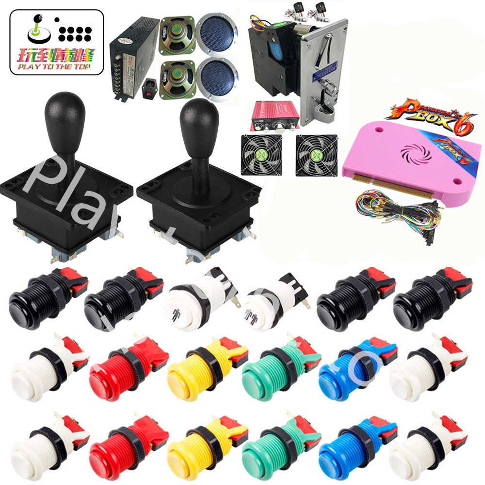 New Arcade parts Bundles kit with Pandora Box 6 American Style Joystick Button Coin door Coin mech Jamma harness Arcade Cabinet