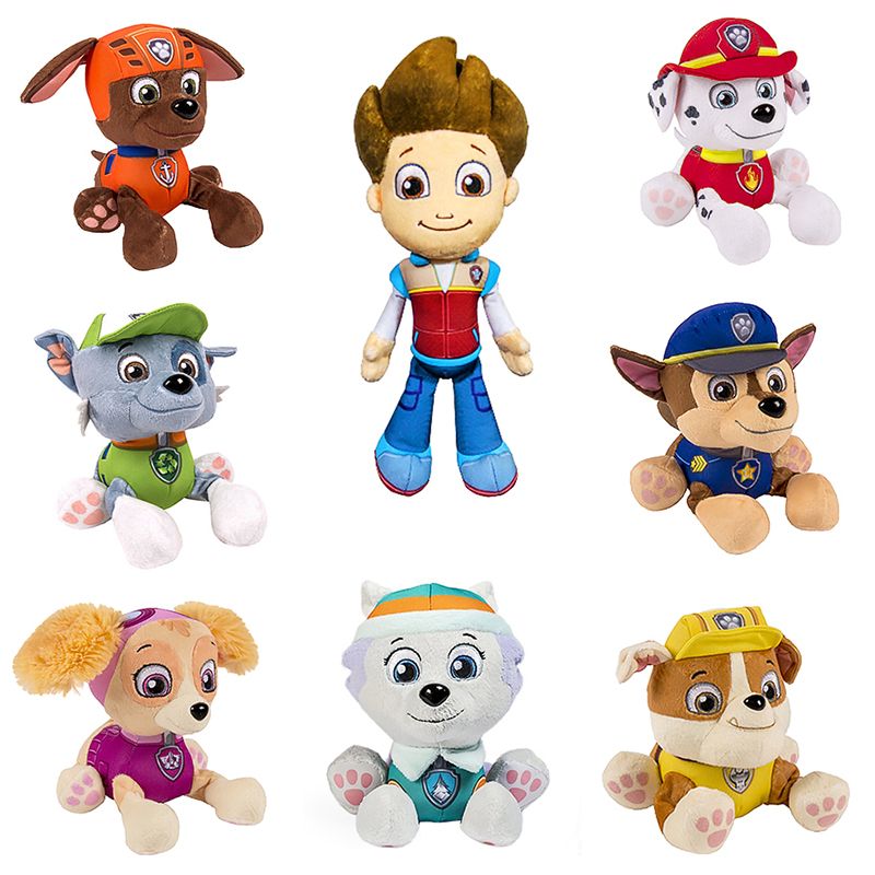 Paw Patrol Dog Skye Tracker Stuffed Plush Ryder Everest Doll Anime Kids Toys Action Figure Plush Doll Stuffed Toy Christmas Gift