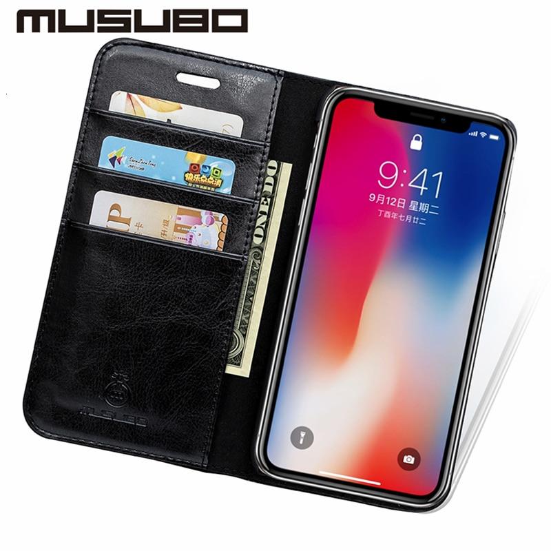 Musubo Luxury Leather Wallet Casing Cover for iPhone Xs Max X XR 7 - Ανταλλακτικά και αξεσουάρ κινητών τηλεφώνων - Φωτογραφία 4