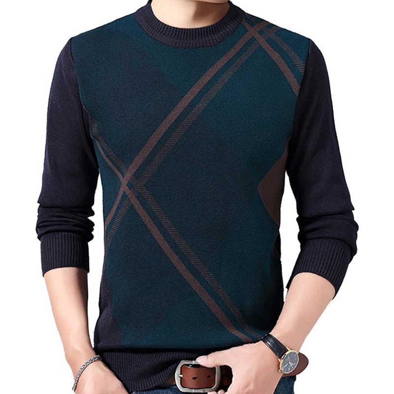 Nowy zimowy sweter mężczyźni luźny pulower mężczyźni O-Neck grube ciepłe swetry wełniane Slim Fit Pull Homme markowe ciuchy J798
