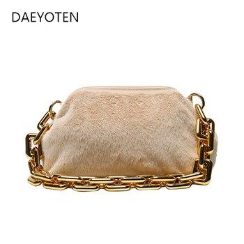 DAEYOTEN Ladies Chain Portable Bags Plush Small Handbag Winter Women Fashion Handbags New Buckle Trendy Faux Fur Bag ZM0909